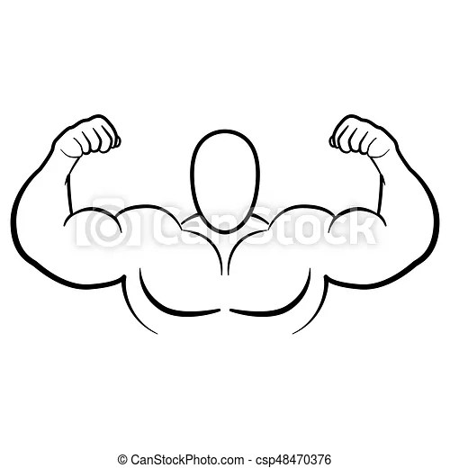Bodybuilder muscle flex arms vector illustration. strong