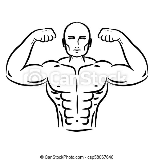 Bodybuilder sketch hand drawn silhouette vector. gym logo