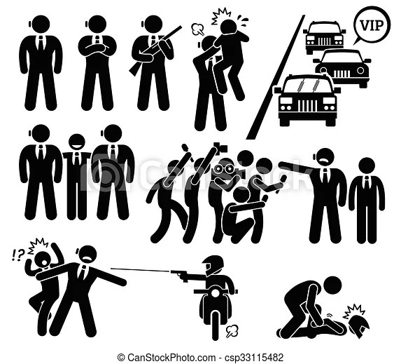 Bodyguard protecting vip boss. A set pictogram