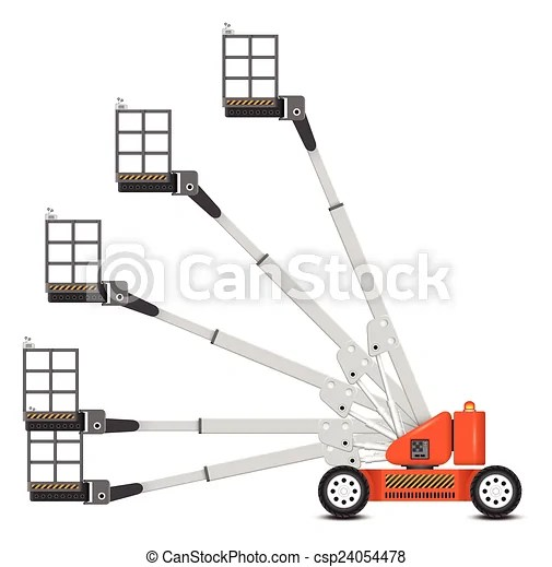 Illustration of boom lift with variety of angle degree