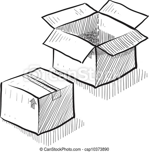 Box or shipping sketch. Doodle style box, package, or
