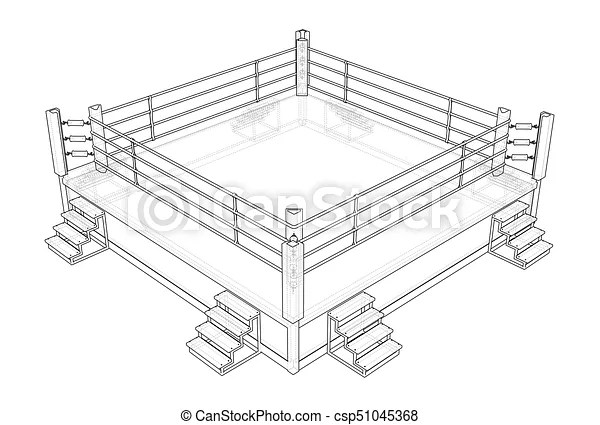 Boxing ring. vector rendering of 3d. wire-frame style. the