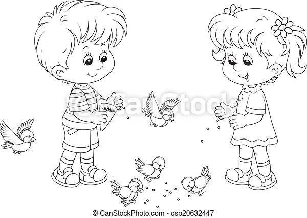 Boy and girl feed birds. Kids feeding a small flock of