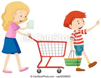 shopping mother grocery boy clipart illustration clip illustrations drawing son vector fotosearch line