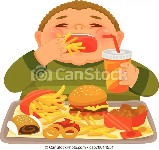 Boy Binge Eating Junk Food Overweight Boy Mindlessly Eating Large Amounts Of Junk Food