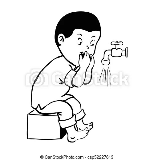 Boy cleaning mouth for wudhu-vector illustration. Boy