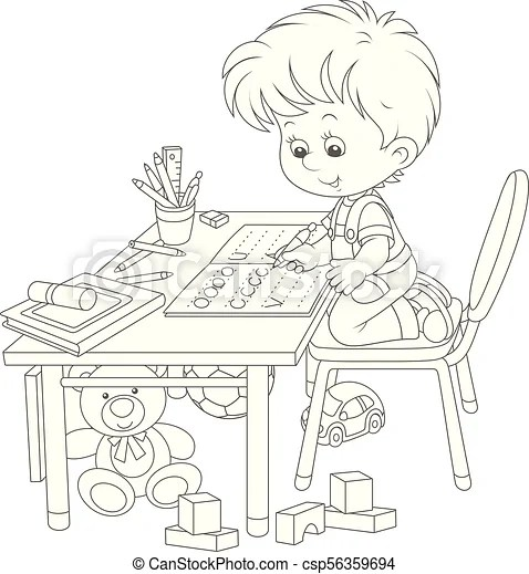 Boy doing homework after his game with toys. Little