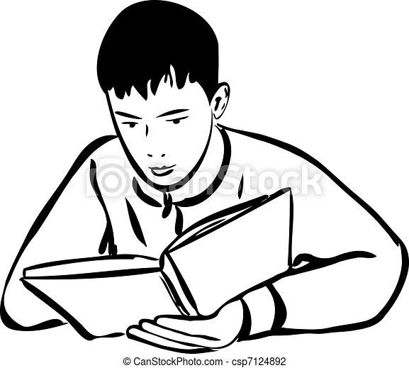 A sketch boy reading a book outline.