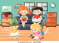 Boys and girls reading in living room illustration.
