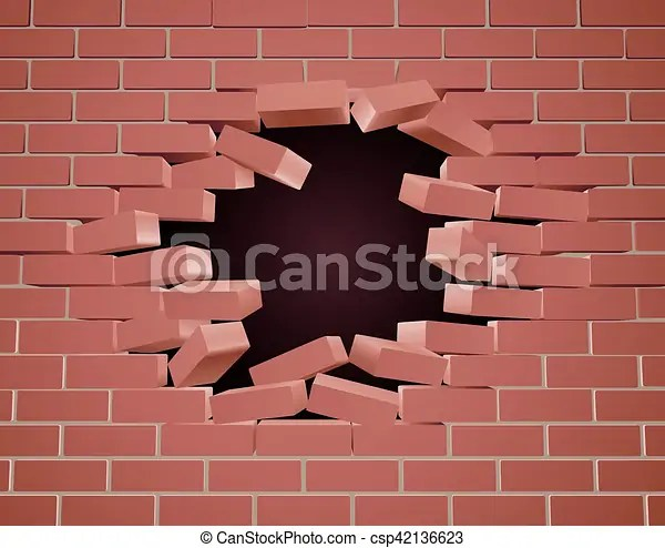 Breaking Brick Wall Clipart - eps10 destruction of a brick wall 3d ...