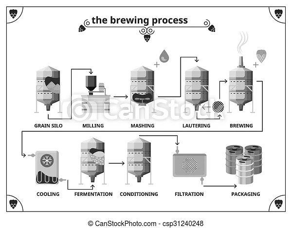 Brewery production process vector infographics template