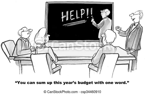 Budget needs help. Business or education cartoon about