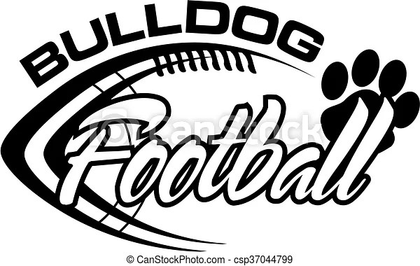 Black and white bulldog football team design with paw