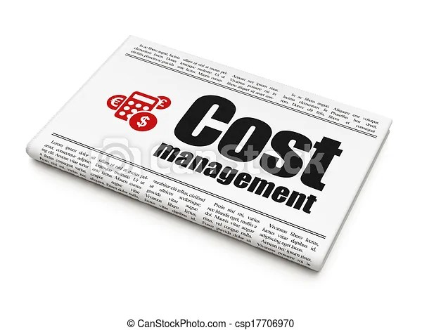 Business concept: newspaper with cost management and