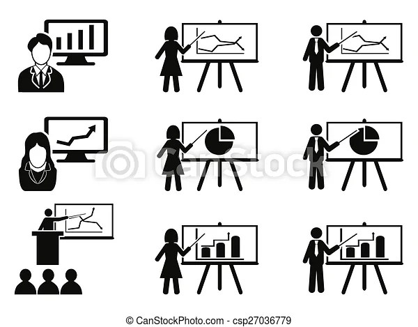 Business lecture meeting icons set. Isolated black