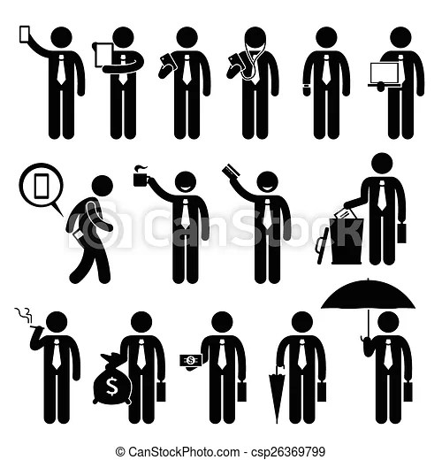 Businessman holding objects. A set of human pictogram