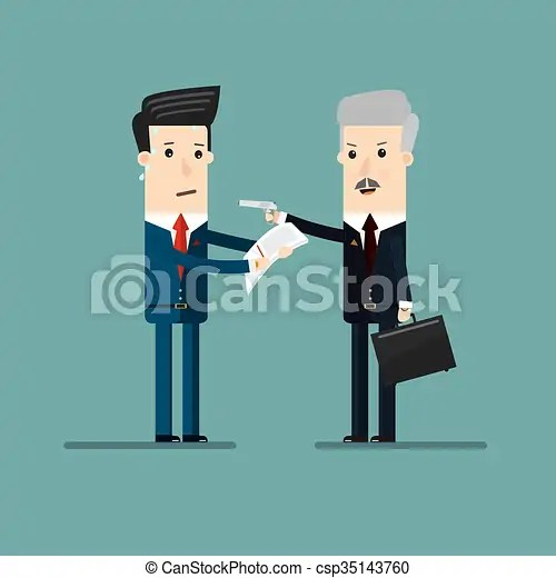 Businessman threatening with a gun and exports documentation from businessmen, for extortion or blackmail . business concept
