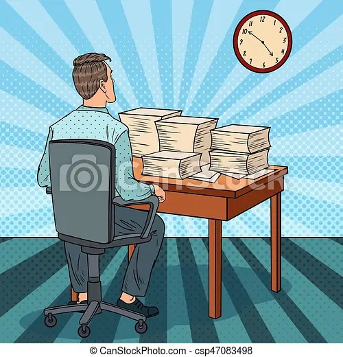 busy office worker with piles of