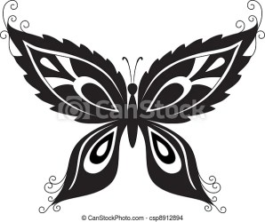 Butterfly black silhouettes Abstract butterfly black contour silhouettes on white background vector CanStock