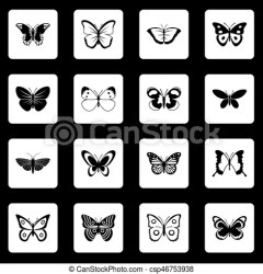 Butterfly icons set squares vector Butterfly icons set in white squares on black background simple style vector illustration