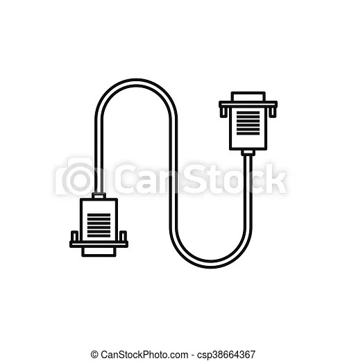 Cable wire computer icon, outline style. Cable wire