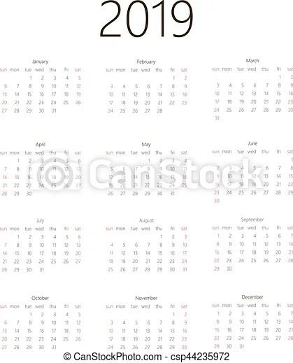 Calendar 2019 on white background. week starts sunday