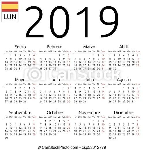Calendar 2019 spanish monday Simple annual 2019 year