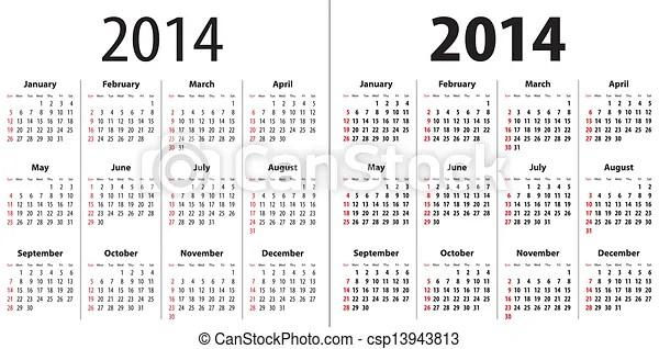 Calendar grid for 2014. sundays first. regular and bold