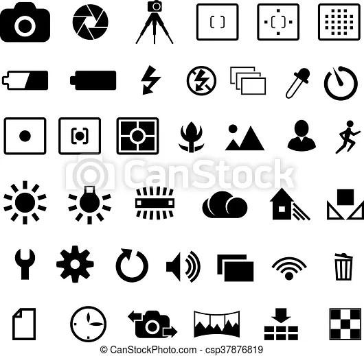 Camera settings icon. Camera options symbols settings and