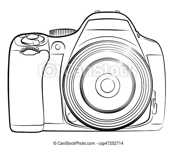 Camera sketch. A sketch of the professional camera with a