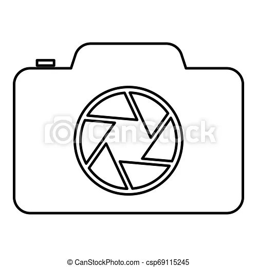 Camera with focus of lens concept icon outline black color