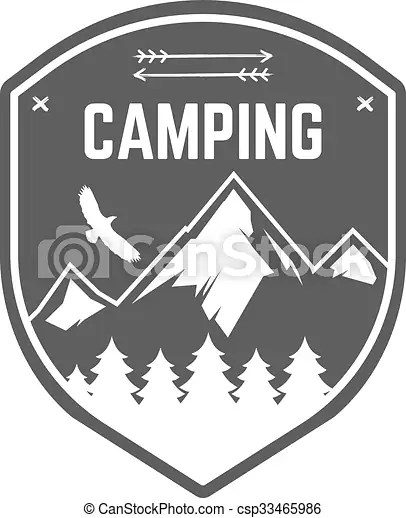 camping label vintage mountain
