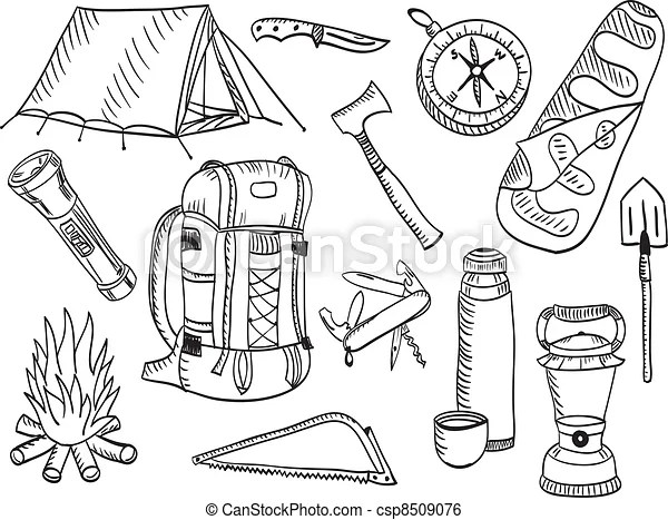 Camping Set Sketch Set Of Camping And Outdoor