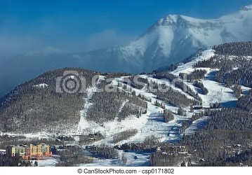 fantasy village mountain land snow peaks ski area misted blowing background canstockphoto