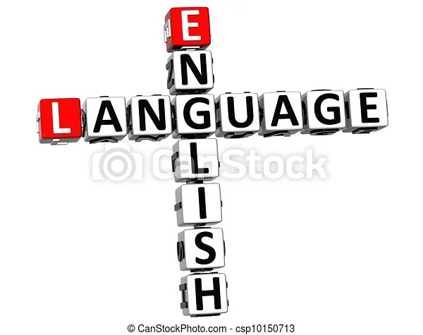 Clipart of 3D English Language Crossword on white