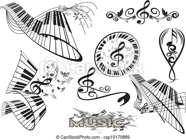 Vector of piano keyboard with floral element csp10170889