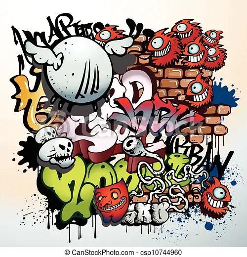 Clip Art Vector of graffiti urban art elements csp10744960