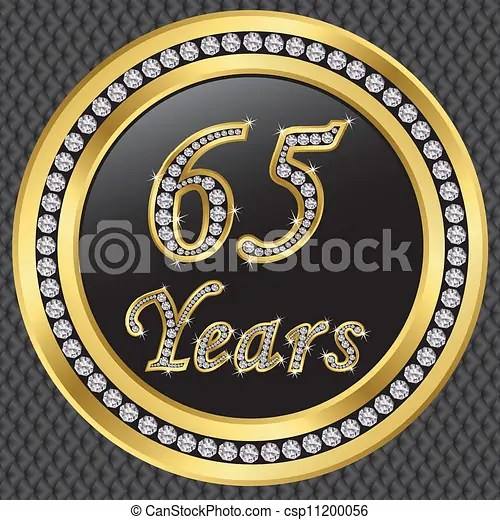 clipart vector of 65 years anniversary