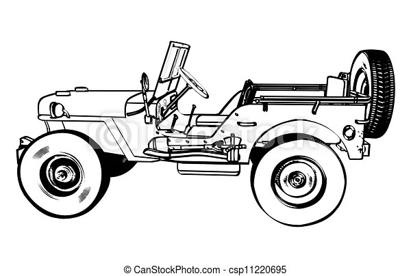 EPS Vectors of Vintage WWII American Jeep, engraving
