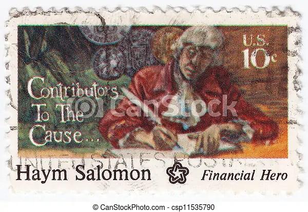 usa, -, Circa, 1975, :, tłoczyć, drukowany, usa, widać, Haym, Salomon, wielki, finansista, Circa, 1975 - csp11535790