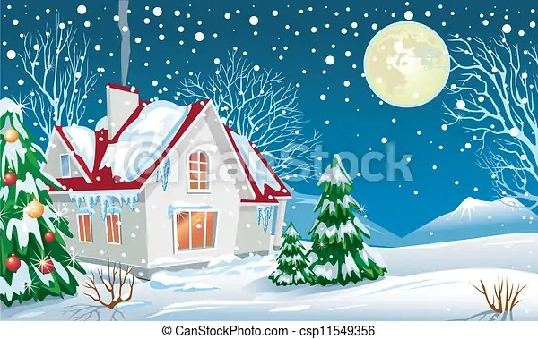 Clipart Vector of Winter landscape with a house