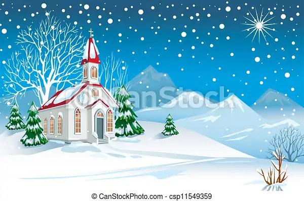 Clipart Vector of Winter landscape with church csp11549359