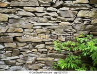 Drawings of oil painting stone wall with green bushes at ...