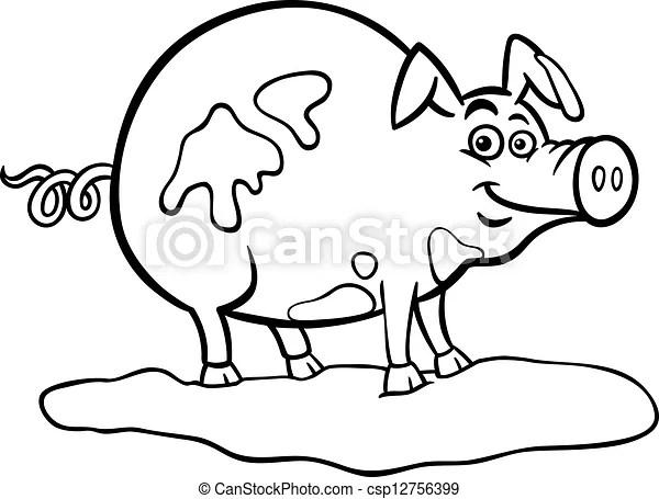 EPS Vektoren von Bauernhof, Schwein, karikatur, färbung