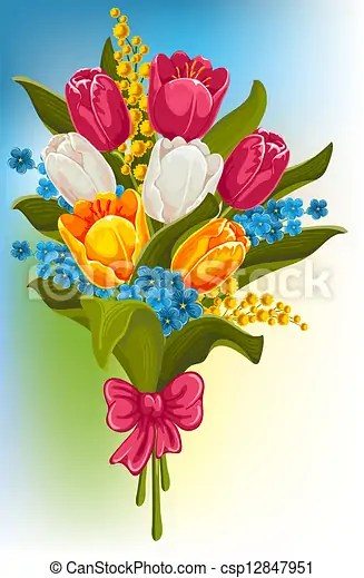 clipart vector of bouquet spring