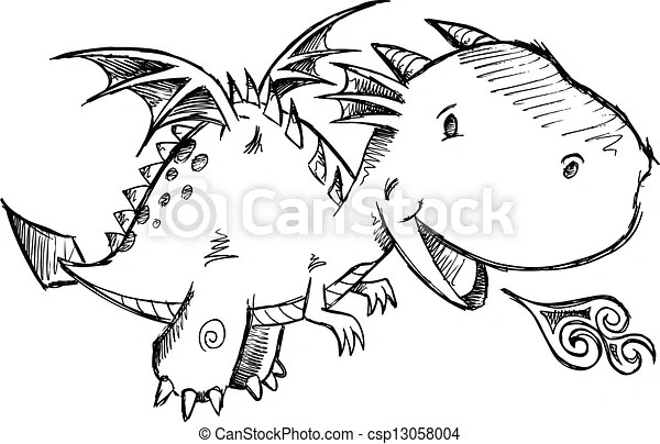 Vector Clipart of Cute Dragon Sketch Vector Art