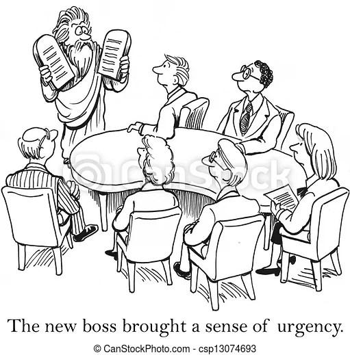 Stock Illustration of Team in meeting room meet new boss