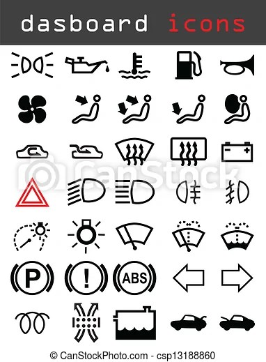 Clip Art de vectores de tablero de instrumentos, iconos