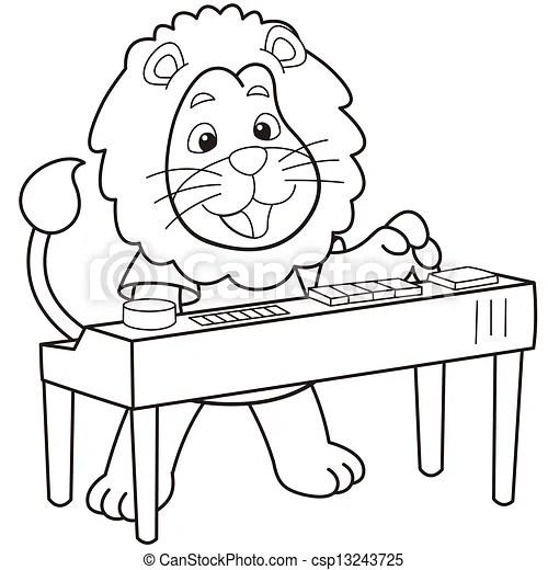 Ilustraciones de Vectores de caricatura, león, juego