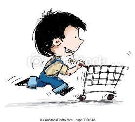 boy shopping cart cartoon running illustration smiling suspenders clipart shopper drawing clip illustrations toothy smile royalty canstockphoto preview